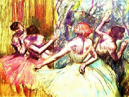 Four dancers behind the scenery1
