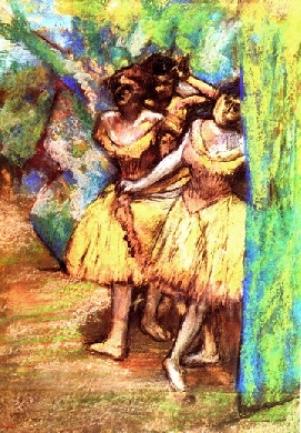 Three dancers behind the scenery